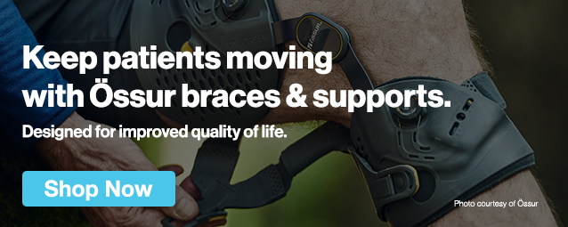 Half Page Ad – Keep Patients Moving With Össur Braces & Supports – Click to View Page