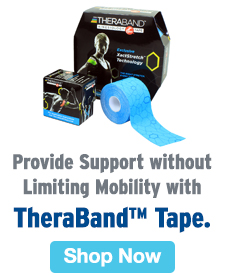 Quarter Page Ad – Provide Support without Limiting Mobility with TheraBand™ Tape – Click to View Page