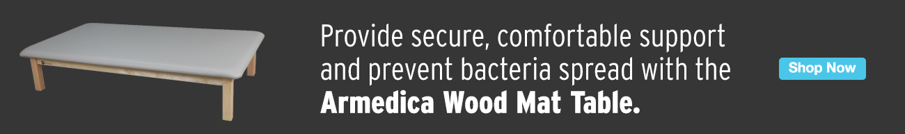 Full Page Ad – Provide Security & Comfort with the Armedica Wood Mat Table – Click to View Page