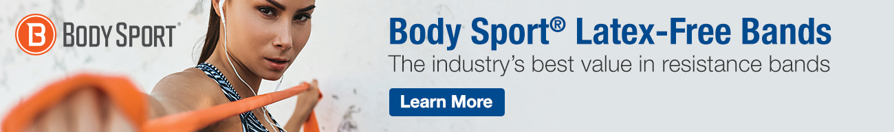 Homepage Banner Ad - Body Sport Latex-Free Bands - Click to Shop