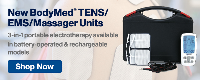 Half Page Ad – New 3-In-1 BodyMed® TENS/EMS/Massager Units – Click to View Page