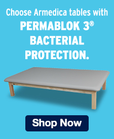 Quarter Page Ad – Choose Armedica Tables with Permablok 3® Bacterial Protection – Click to View Page