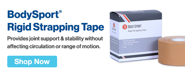 Half Page Ad – Offer BodySport® Rigid Strapping Tape for Joint Support & Stability – Click to View Page