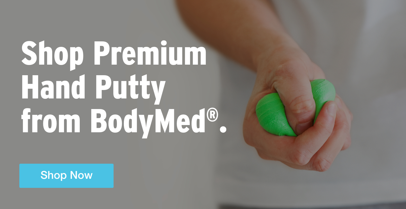 Three Quarter Page Ad – Shop Premium Hand Putty from BodyMed® – Click to View Page