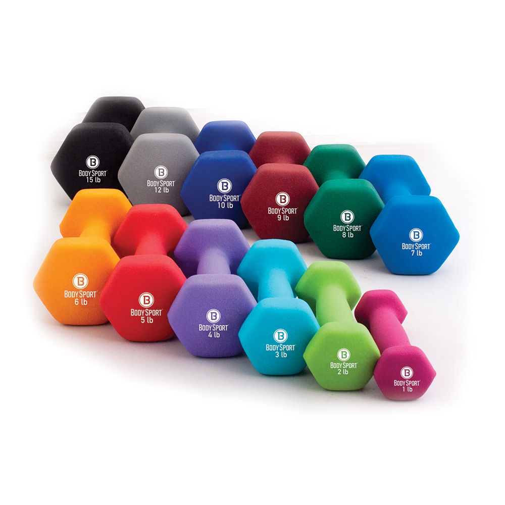 Body Sport Colored Neoprene Dumbbells